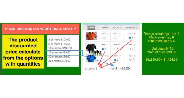 Option Quantity Calculate Discounted Price