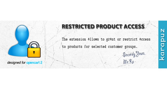 Restricted Product Access (for Opencart 2)