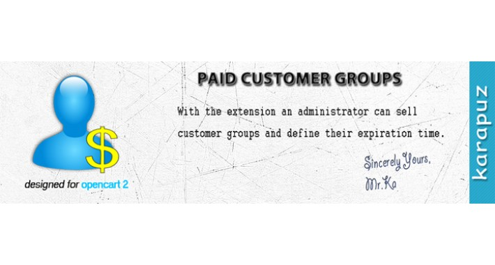 Paid Customer Groups (for Opencart 2)