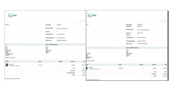 opencart simple invoice billing custom fields on receipt bill