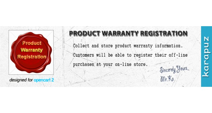 Product Warranty Registration (for Opencart 2)