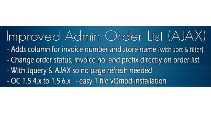 OC1.5 - Improved Admin Order List (AJAX)