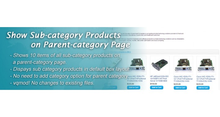 Display Subcategory Products on Parent Category Page