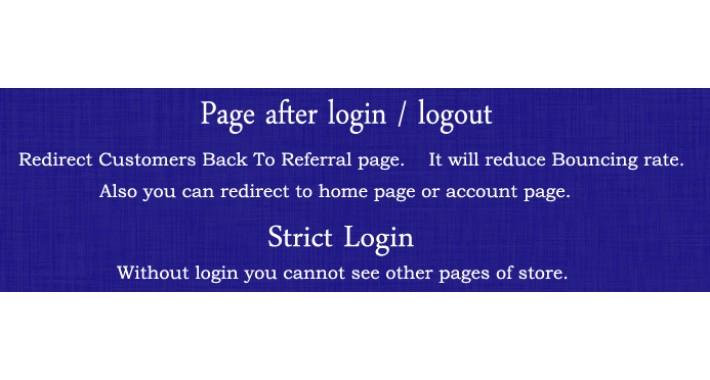 Page After Login - Logout / Strict Login