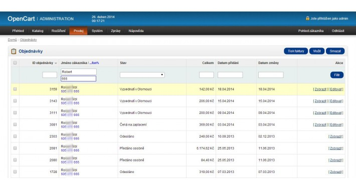 Admin Orders Search by Telephone (VQMOD/XML)