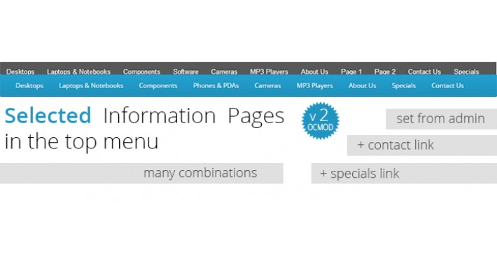 Selected information pages, links in top menu-Many combinations
