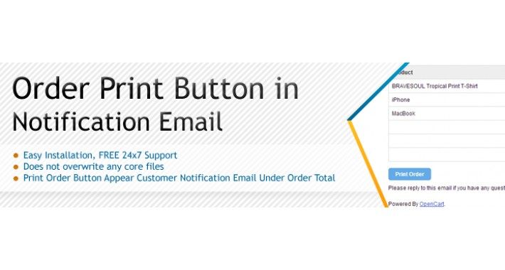 Order Print Button in Notification Email