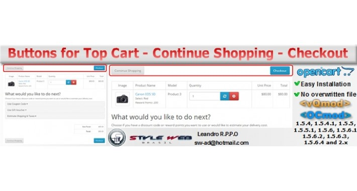 Buttons for Top Cart Continue Shopping-Checkout
