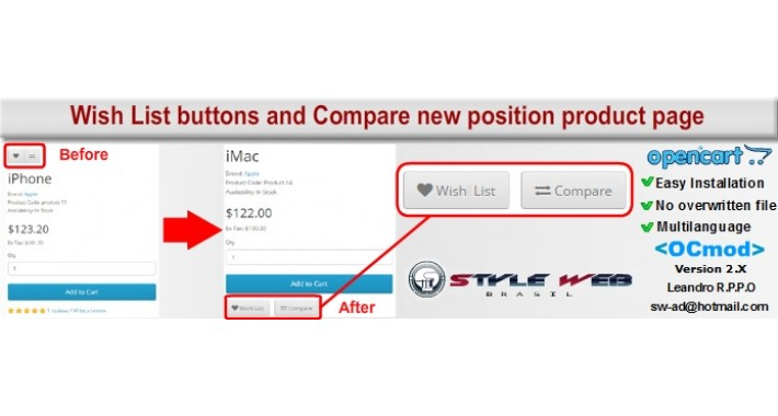 Wish List buttons and Compare  new position product page