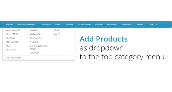 Add Products As Dropdown To The Top Category Menu