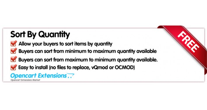 Sort By Quantity - OpenCart-2.X