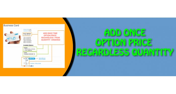 Add Once Option Price Regardless Quantity