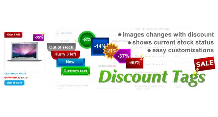 Special Discount Tags with stock status (FREE SUPPORT)