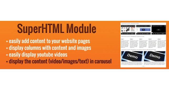 SuperHtml opencart module - easily add text, videos and images