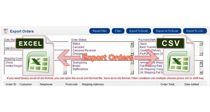 Orders Export - Export Orders To Excel (VQMOD)