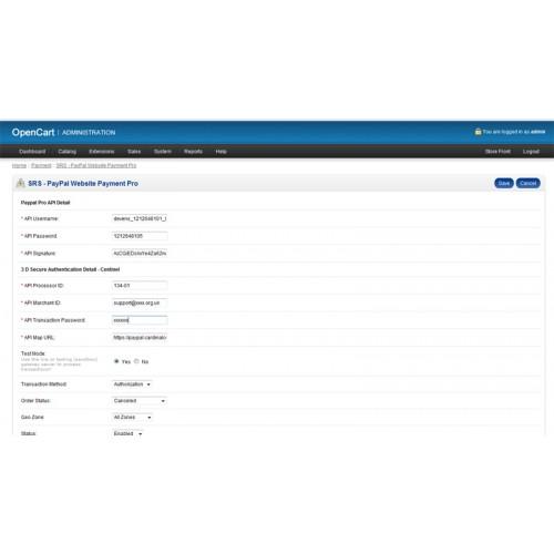 OpenCart - SRS Paypal Pro 3D Secure module