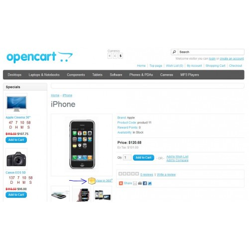 OpenCart - 360 Product Image