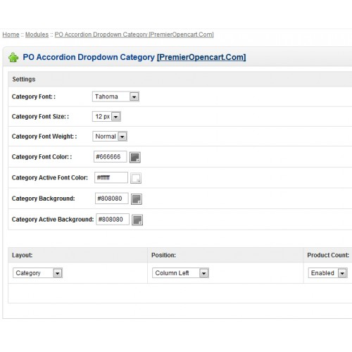 OpenCart - PO Accordion Dropdown Category