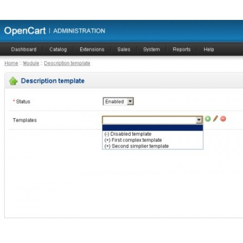 Opencart - Description Templates