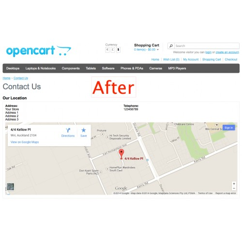 OpenCart - Google Map On Contact Page