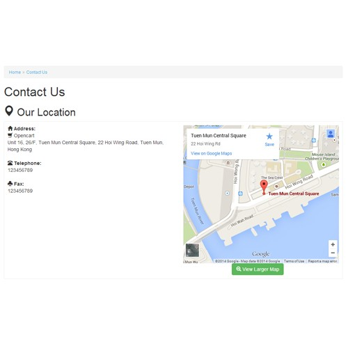 OpenCart google maps on contact page customised