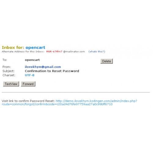 OpenCart - Forgot Password for Admin