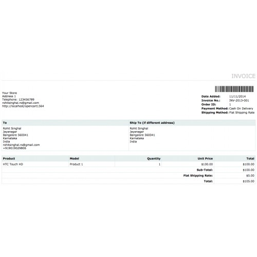 OpenCart - Invoice and Delivery Barcode Generator