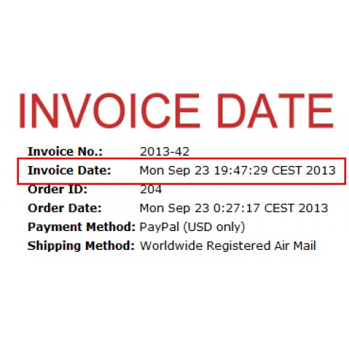 dating of invoices