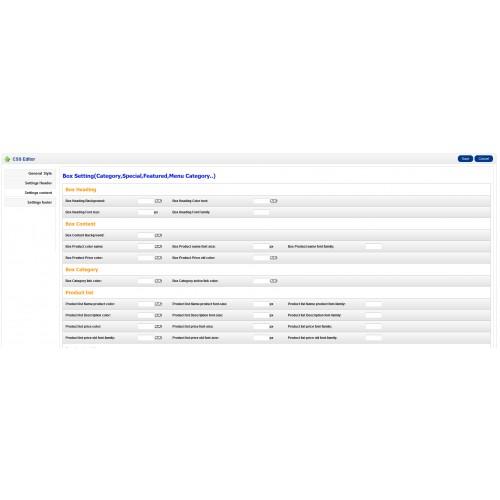 opencart template editor - opencart css editor module template settings