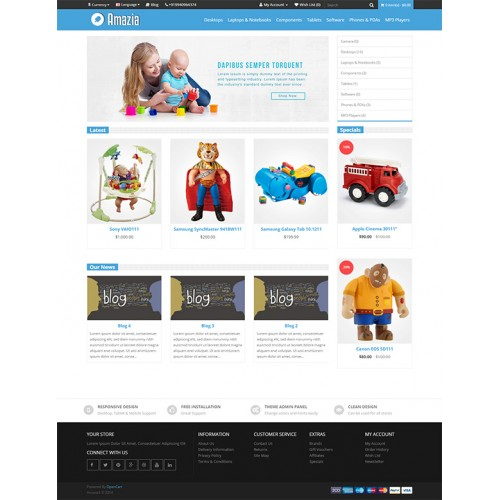 Opencart Amazia Responsive Opencart Theme