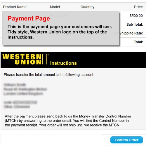 OpenCart - Western Union Payment