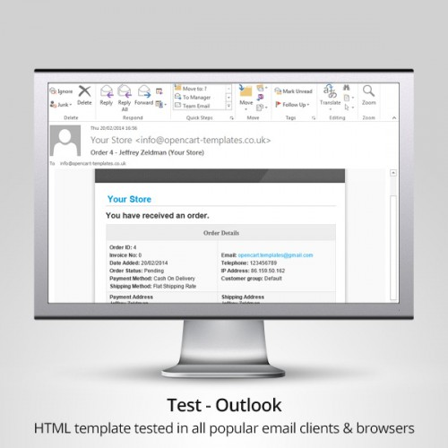 OpenCart Advanced Professional Email Template - Outlook html email template