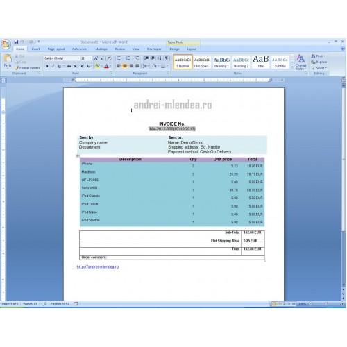 opencart - custom invoice template .docx, Invoice examples