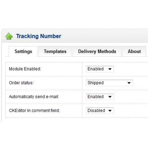 Opencart Send Tracking Number