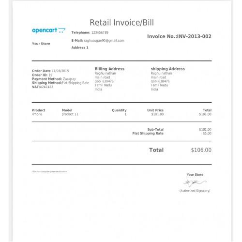 Opencart  Invoice Pdf Print  Mail Ocmod