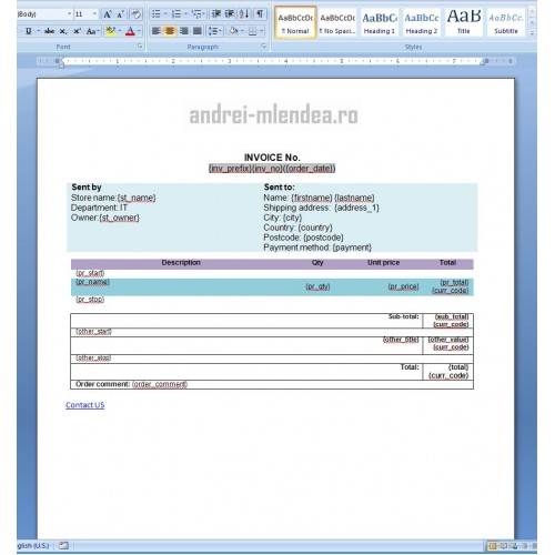 OpenCart Custom Invoice Template DOCX - Invoice template docx