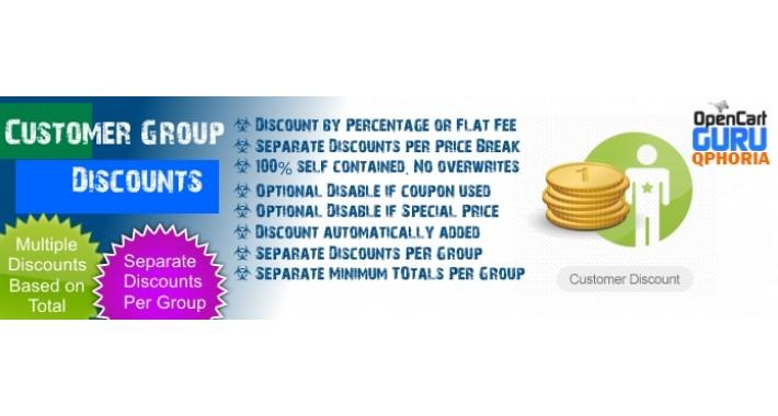 Customer Group Discount/Fee (1.5.x/2.x/3.0)