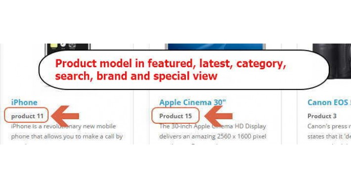 Product model in category, featured, latest, search, brand