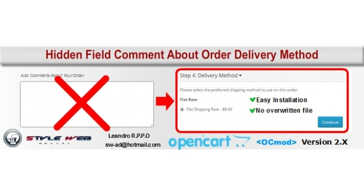 Hidden Field Comment About Order Delivery/Payment Method