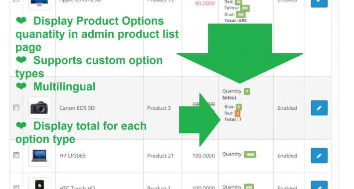 GGW vQmod Display product options quantity in admin