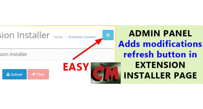 Modifications refresh button in extensions installer page
