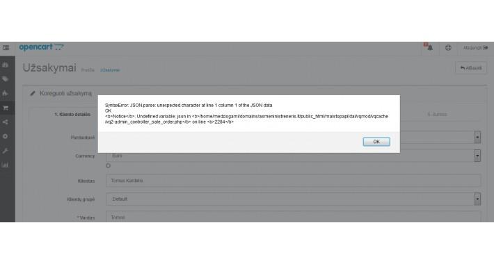 opencart order edit error fix for admin