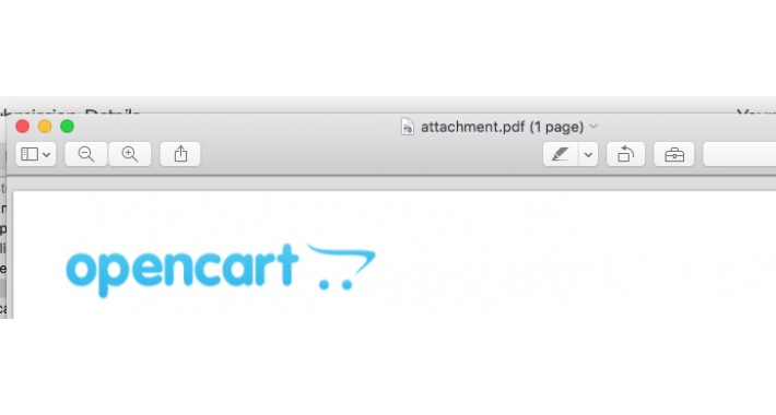 OpenCart - Order Invoice PDF Mail Attachment Opencart