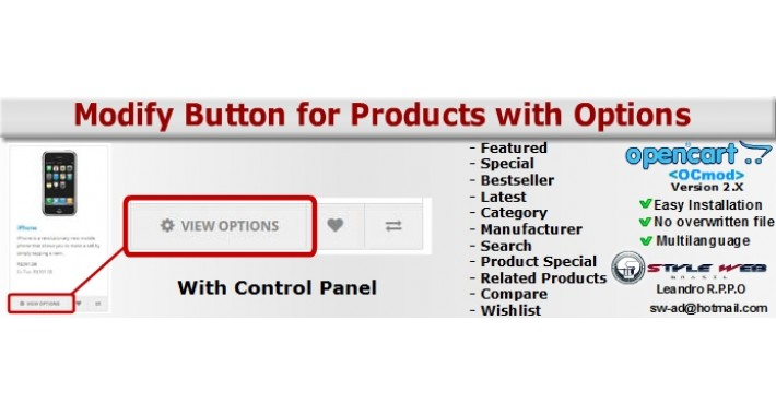 Modify Button for Products with Options