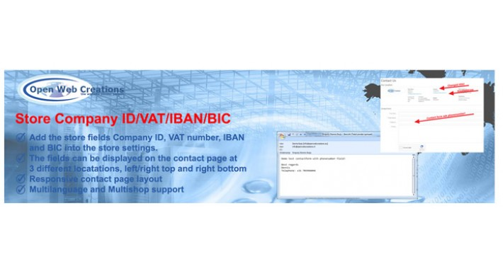 Store Company ID/VAT/IBAN/BIC
