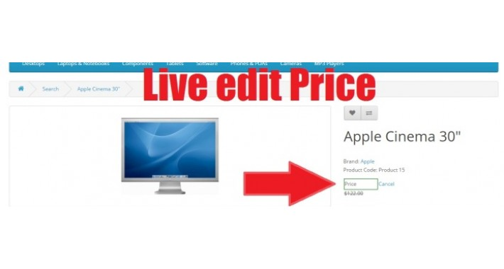 Live edit product cart Price frontend without admin
