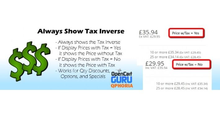 Always Show Inverse Tax Value (15x/2x/3.0) - vQmod
