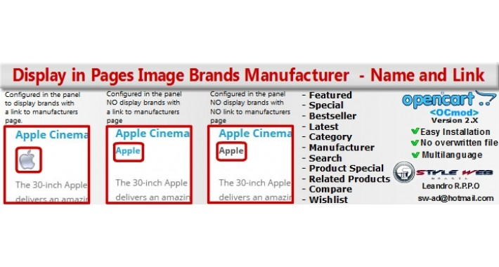 Display in Pages Image Brands Manufacturer  - Name and Link