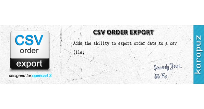 CSV Order Export (for Opencart 2)