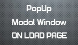 PopUp - Modal Window on load Page 2.x